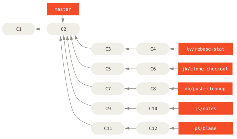 Managing a complex series of parallel contributed topic branches.