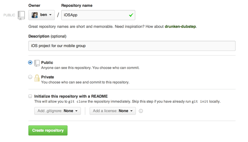 The ``new repository'' form.